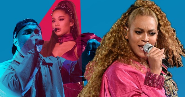 Beyonce, Ariana Grande and The Weeknd