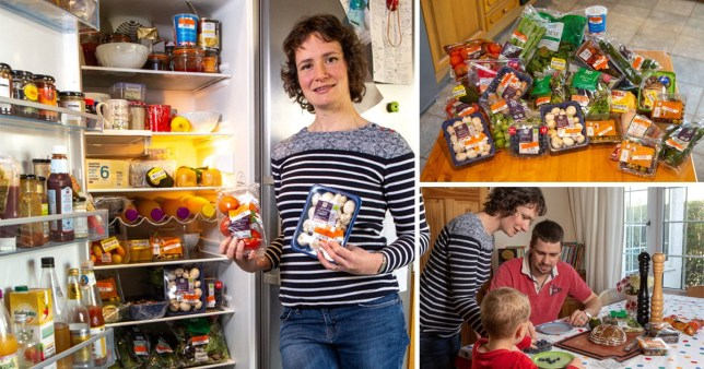 Mum Laura, Dad Max with their son Wilf with all the food they've got for discounted prices