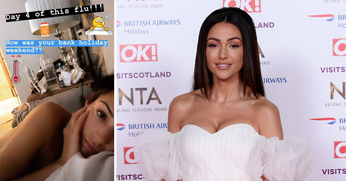 Michelle keegan is shares a topless selfie as she complains about suffering from flu