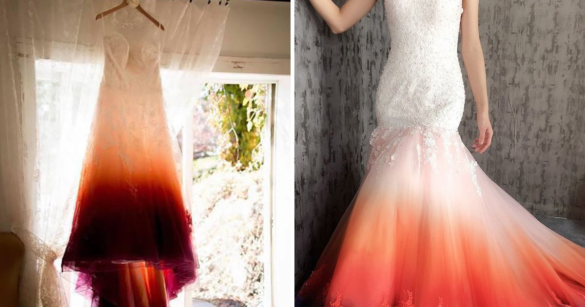 wedding dress has a dip-dye design that makes it look like a used tampon