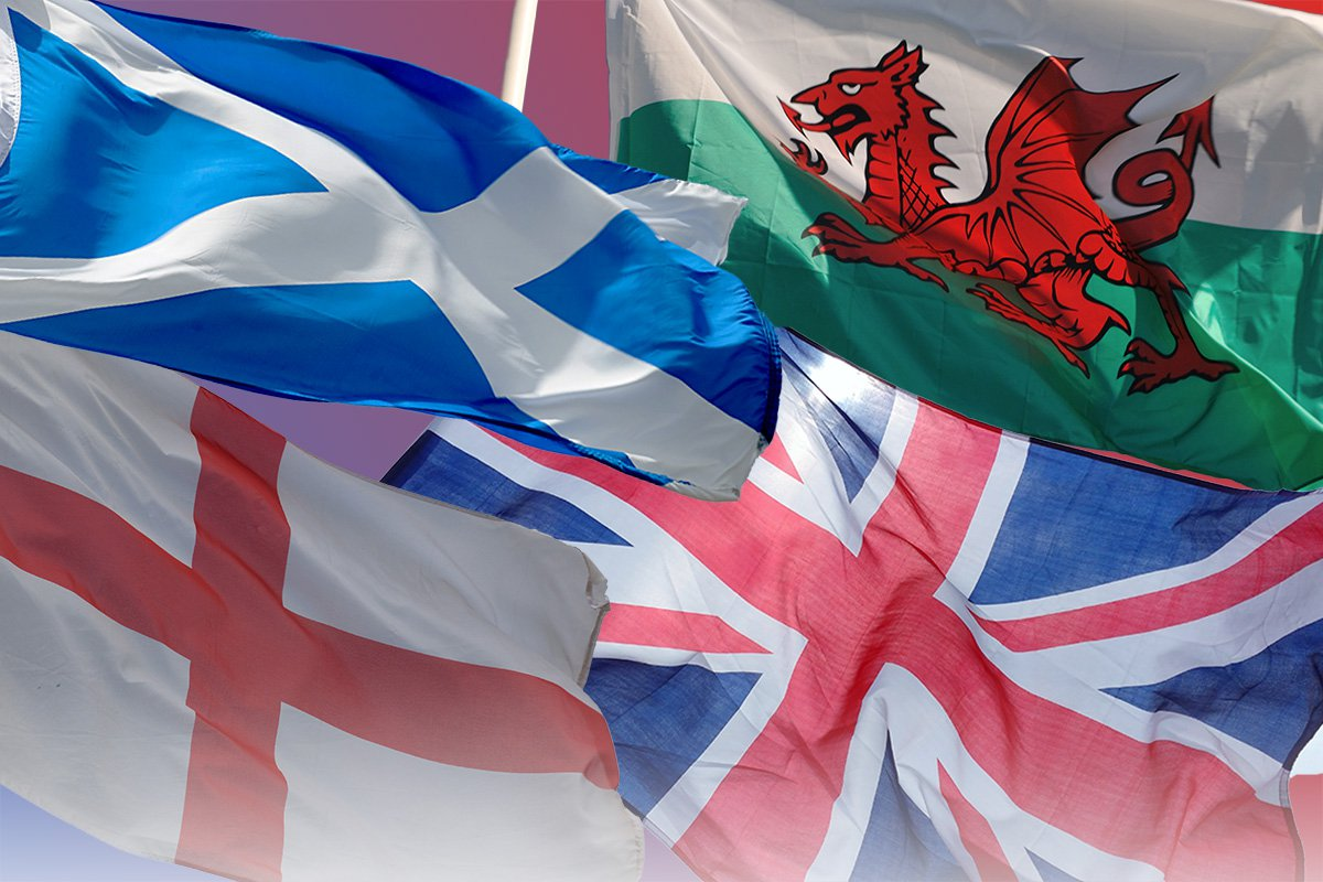 The flags for Scotland, Wales and England, and the Union Flag.