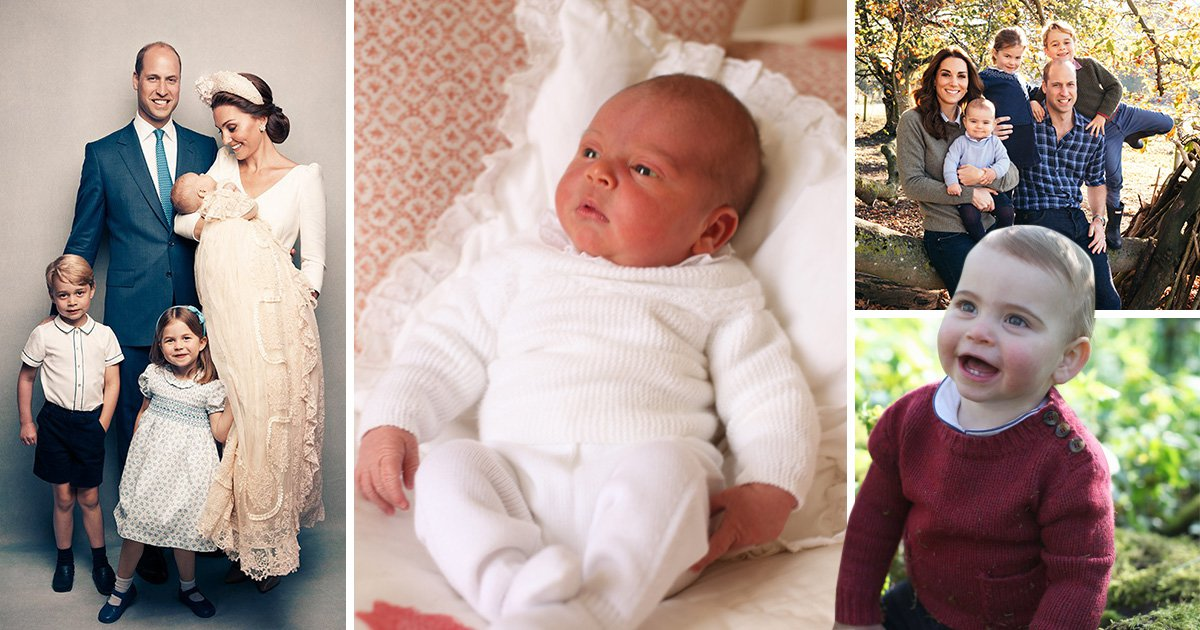 Four pictures of Prince Louis as a baby, with his family after his christening, in the Royal family's 2018 Christmas card photo, and wearing a red jumper on his first birthday