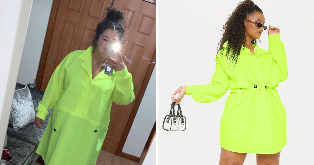 Morgan Kane wearing PrettyLittleThing's large dress