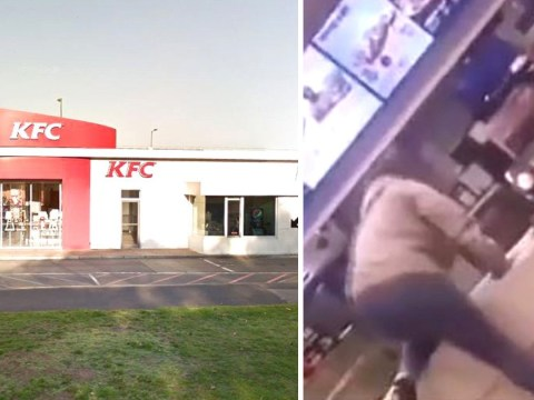 KFC worker attacked by customer who jumped over counter