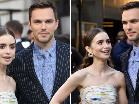 Lily Collins channels spring vibes in dreamy floral gown as she's joined by Nicholas Hoult at Tolkien premiere
