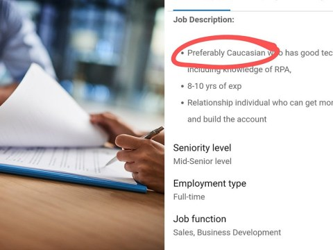 Recruitment firm asks for 'preferably Caucasian' candidate in job advert