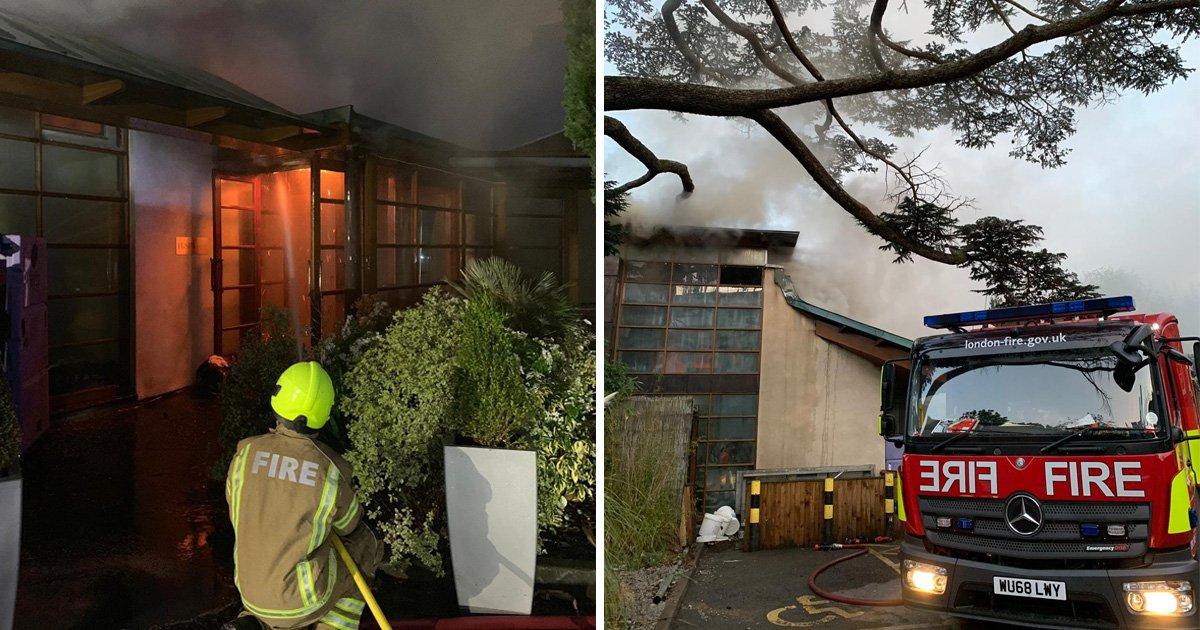 100 firefighters battle blaze at London hotel spa