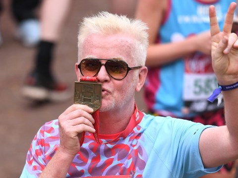 Which celebrity runners did you beat in the London Marathon?