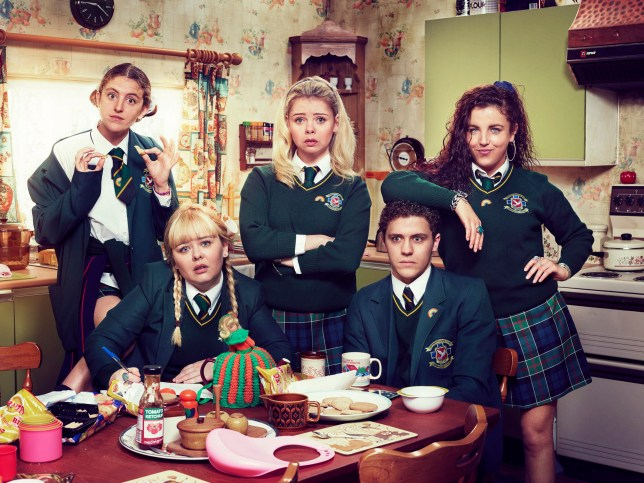 Television programme, 'Derry Girls', TX Channel 4. l-r:- Orla (Louise Harland), Clare (Nicola Coughlan), Erin (Saoirse-Monica Jackson), James (Dylan Llewellyn) and Michelle (Jamie-Lee O???Donnell)