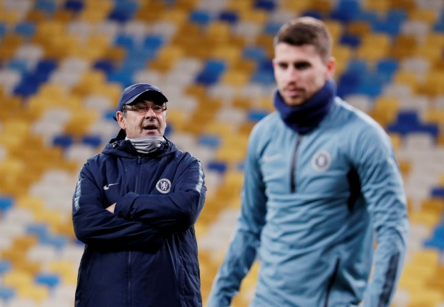 Soccer Football - Europa League - Chelsea Training - NSC Olympiyskiy, Kiev, Ukraine - March 13, 2019 Chelsea manager Maurizio Sarri and Chelsea's Jorginho during training REUTERS/Valentyn Ogirenko