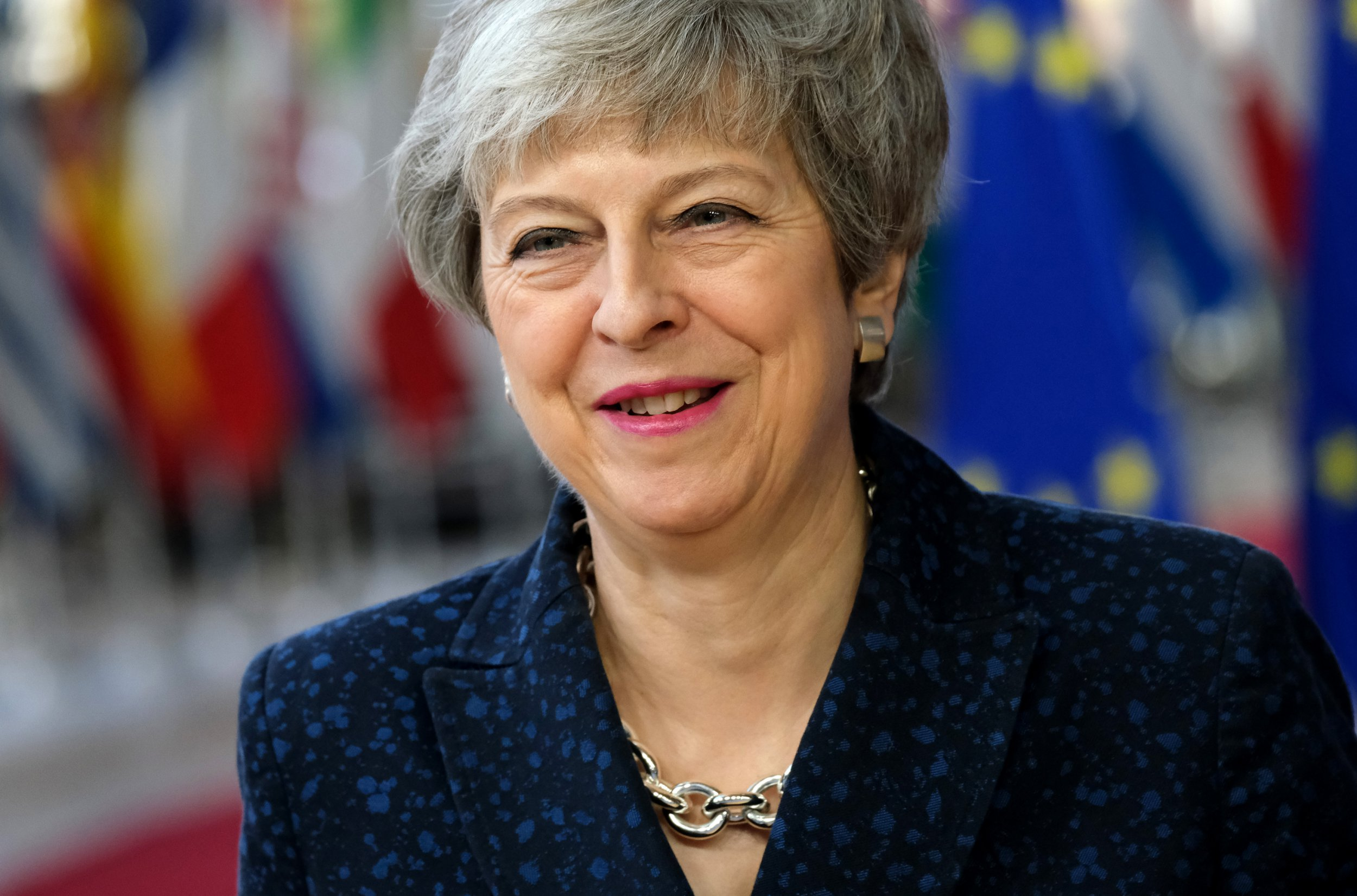 BRUSSELS, BELGIUM - MARCH 21: British Prime Minister Theresa May arrives for a two-day summit of European Union leaders on March 21, 2019 in Brussels, Belgium. Leaders will discuss May's request for an extension of the deadline for the United Kingdom's departure from the EU, or Brexit. European Council President Donald Tusk said yesterday that he can see member states agreeing to a short extension beyond March 29, though he has coupled an extension to the British Parliament passing Theresa May's Brexit agreement first. (Photo by Sean Gallup/Getty Images)