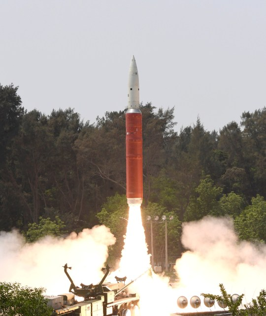 A Ballistic Missile Defence (BMD) Interceptor takes off to hit one of India's satellites in the first such test, from the Dr. A.P.J. Abdul Kalam Island, in the eastern state of Odisha, India, March 27, 2019. Picture taken March 27, 2019. India's Press Information Bureau/Handout via REUTERS ATTENTION EDITORS - THIS IMAGE HAS BEEN SUPPLIED BY A THIRD PARTY. NO RESALES. NO ARCHIVES. MANDATORY CREDIT