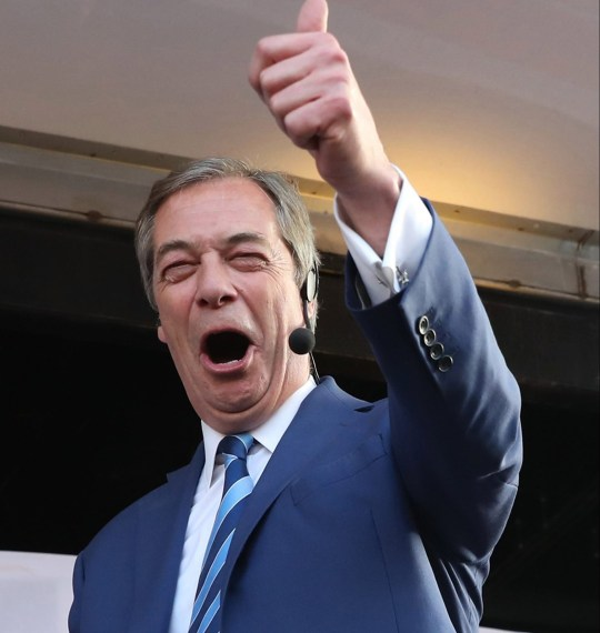 Former UKIP leader Nigel Farage speaking on stage at the March to Leave protest in Parliament Square, Westminster, London
