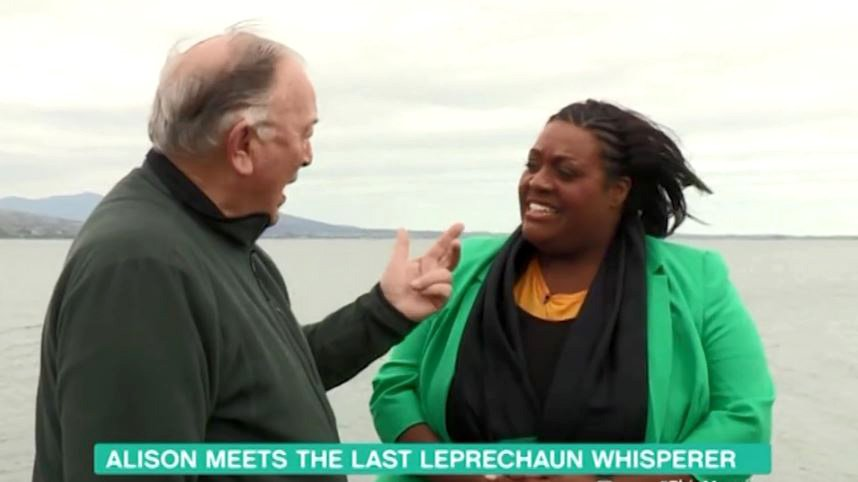 Alison Hammond grills last ever leprechaun whisperer Provider: ITV Source: https://videos.metro.co.uk/video/met/2019/04/01/3437827181042483419/960x540_MP4_3437827181042483419.mp4