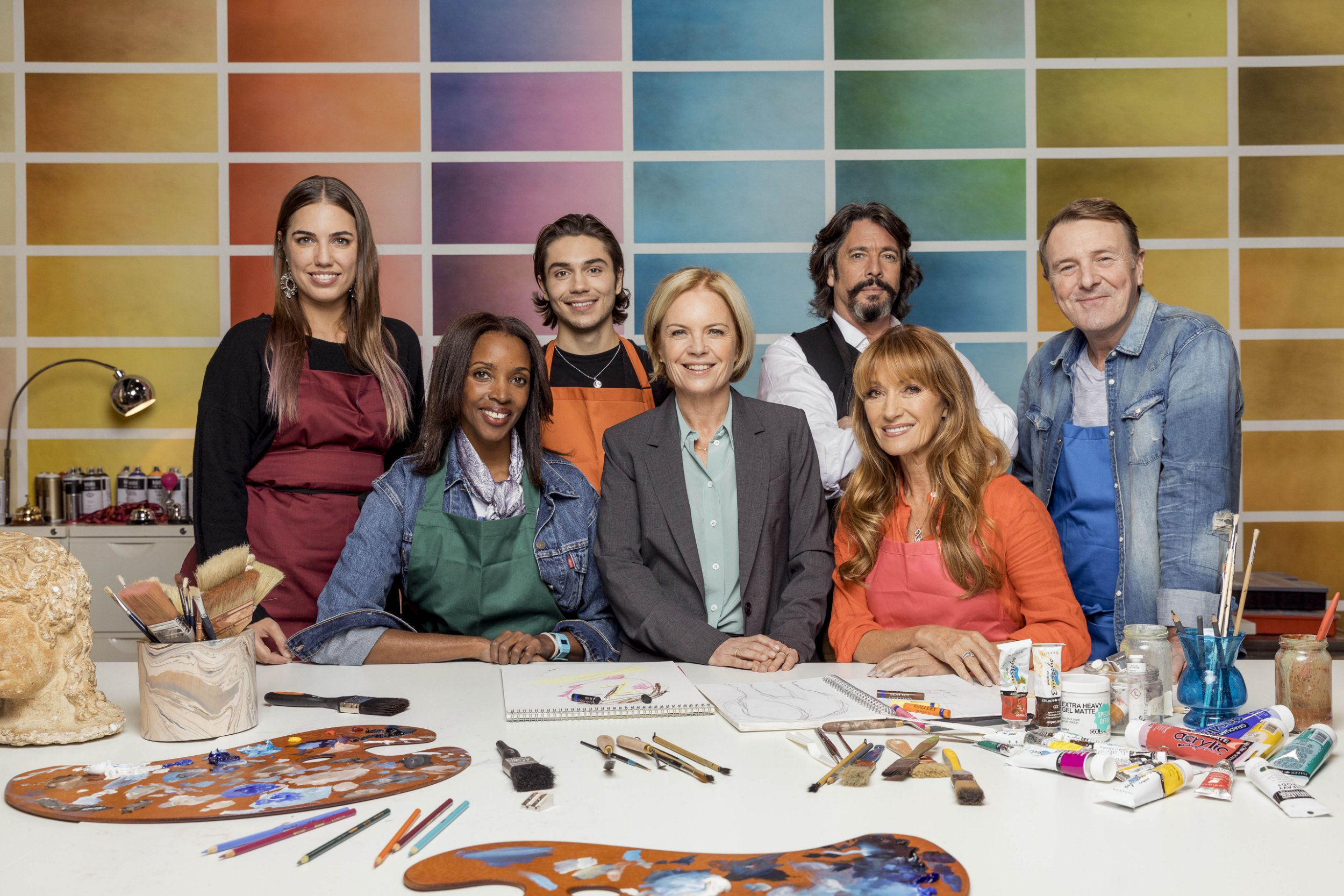 the cast of celebrity painting challenge