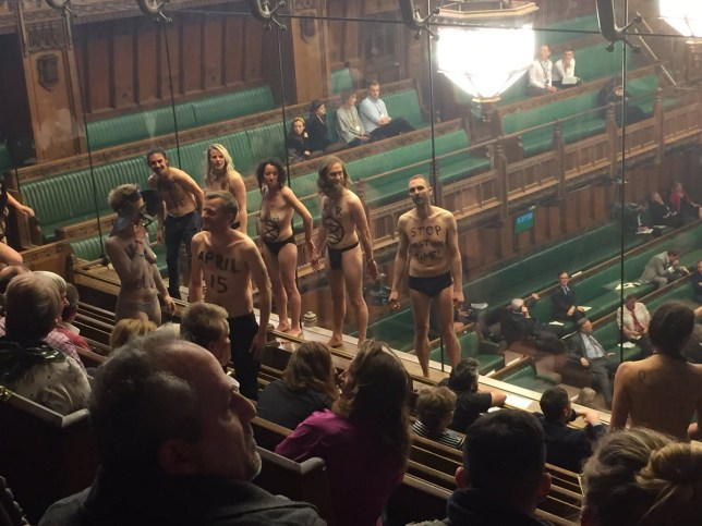 Naked protesters in Parliament gallery at House of Commons