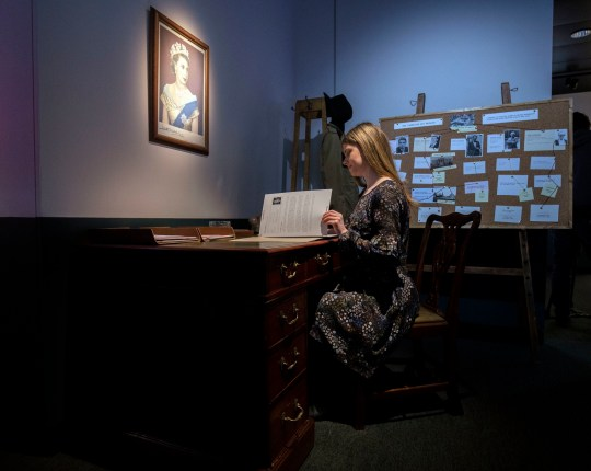A lady sits at a recreation of an investigators desk into the Cambridge Spies during the preview of the National Archives new exhibition, Protect and Survive: Britain's Cold War Revealed, at the National Archives, Richmond. PRESS ASSOCIATION Photo. Picture date: Tuesday April 2, 2019. The exhibition will recreate a government bunker and a 1980s living room, showing the impact of the Cold War on the government and on ordinary people's lives. See PA story HERITAGE ColdWar . Photo credit should read: Steve Parsons/PA Wire