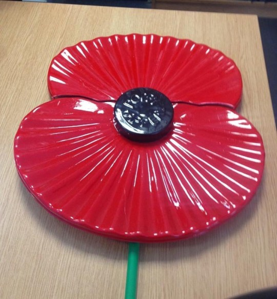 Image of the British Legion Poppy Wreath snapped in half - BTP officers investigating the damage of a ceramic poppy at York railway station are today releasing CCTV images. The incident happened at 9.28pm on Saturday 23 March. A man is reported to have approached the British Legion Poppy Wreath and snapped it in half. He was reported to have been very irate and in a group of seven to nine other men. The group left the station in taxis at 10.10pm. Officers believe the man in the image may have information that could help their investigation. Picture: Universal News And Sport (Europe) 02/04/2019