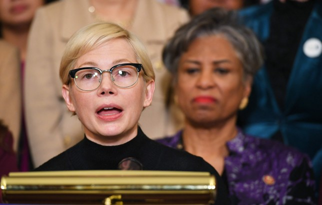 Actress Michelle Williams speaks at an event to celebrate the Paycheck Fairness Act on Equal Pay Day in the Rayburn Room of the US Capitol in Washington, DC on April 2, 2019. (Photo by MANDEL NGAN / AFP)MANDEL NGAN/AFP/Getty Images