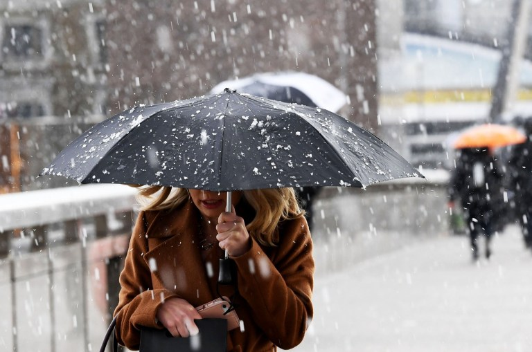 Mandatory Credit: Photo by James Veysey/REX (10185759h) Snowfall on London Bridge Seasonal Weather, London, UK - 03 Apr 2019