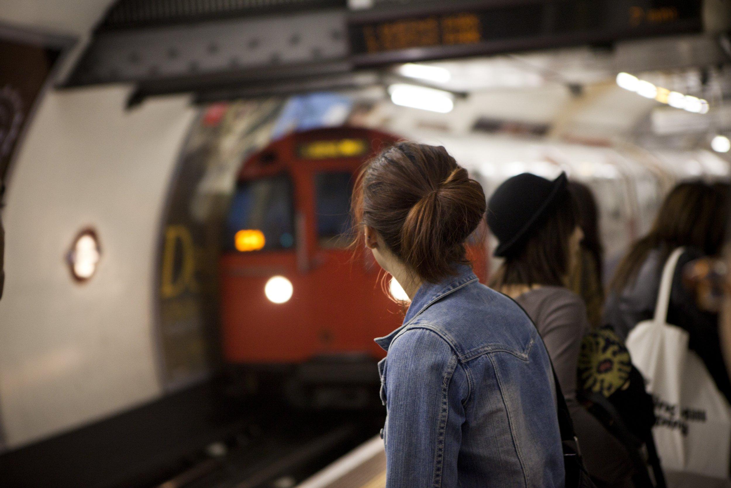 People waiting on London underground platform.