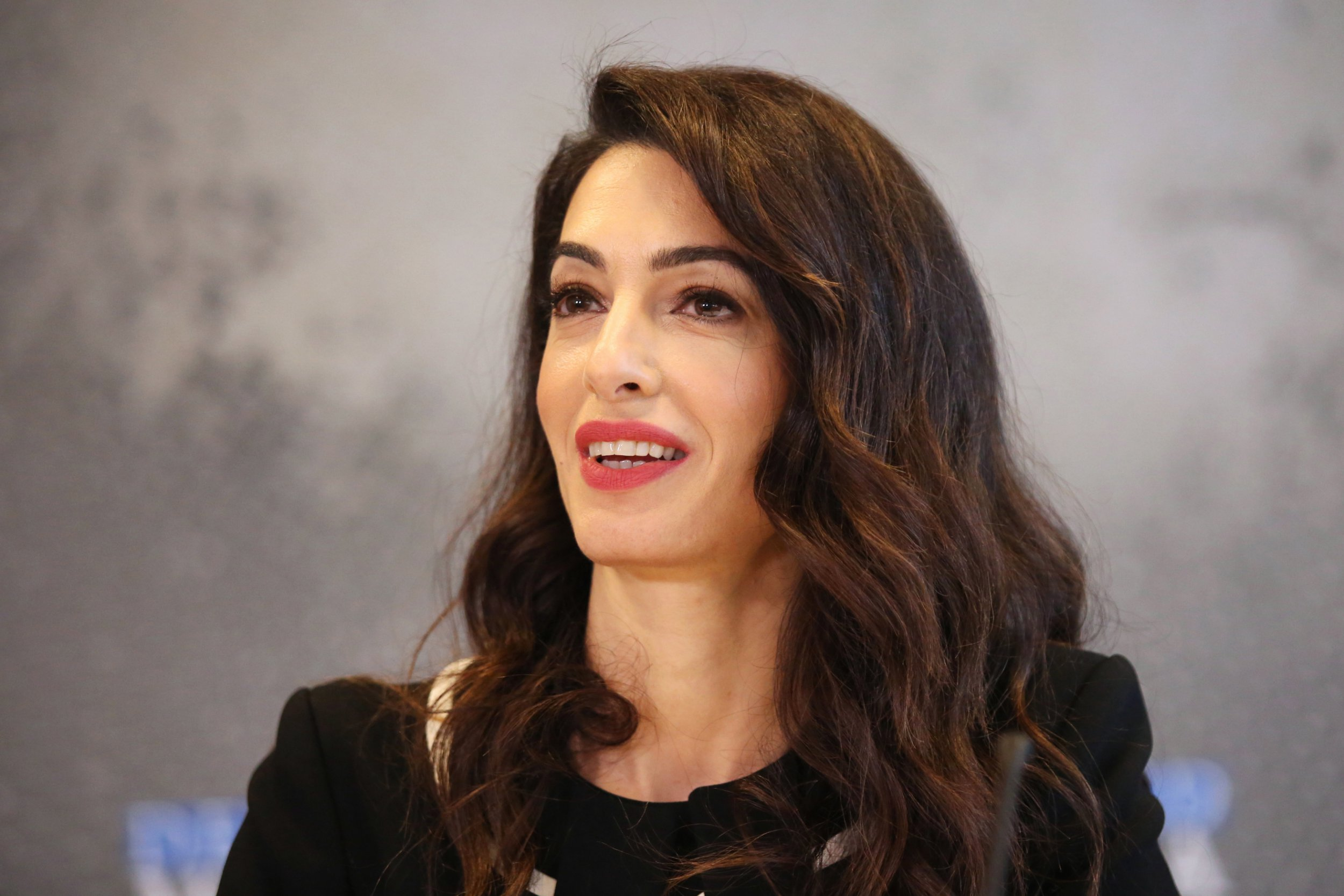 epa07486407 Lebanese-British barrister Amal Clooney delivers a statement to media in the margins of the G7 Foreign Ministers Meeting in Dinard, France, 05 April 2019. The gathering of Foreign Ministers in Dinard and Saint Malo on 05 and 06 April 2019 takes place ahead of the G7 Summit in Biarritz, from 25 to 27 August 2019. EPA/THIBAULT VANDERMERSCH