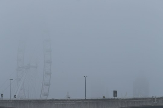 The Cocoa-Cola London Eye on London's Southbank shrouded in fog. PRESS ASSOCIATION Photo. Picture date: Sunday April 7, 2019. Photo credit should read: Yui Mok/PA Wire