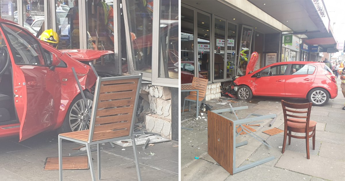 Car crashes through Wetherspoons window during lunchtime rush