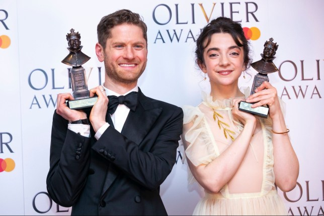 Mandatory Credit: Photo by Dan Wooller/REX (10189866bq) Kyle Soller accepts the award for Best Actor for The Inheritance and Patsy Ferran accepts the award for Best Actress for Summer and Smoke '2019 Laurence Olivier Awards' awards, Winners, London, UK - 07 Apr 2019