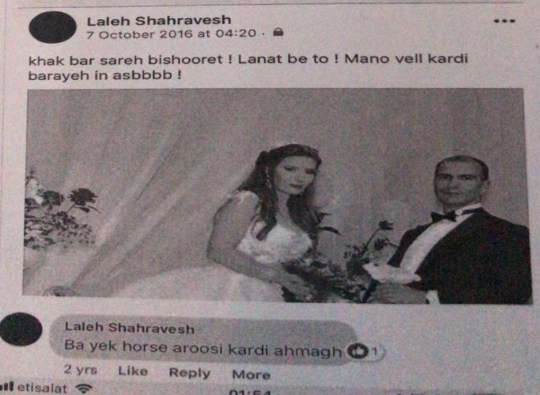 One of the posts which campaigners have claimed has left Laleh Sharavesh,, a single mother from London, facing two years in jail in Dubai for allegedly using disparaging language about her ex-husband's new wife on Facebook. PRESS ASSOCIATION Photo. Issue date: Monday April 8, 2019. See PA story POLICE Dubai . Photo credit should read: Detained in Dubai/PA Wire NOTE TO EDITORS: This handout photo may only be used in for editorial reporting purposes for the contemporaneous illustration of events, things or the people in the image or facts mentioned in the caption. Reuse of the picture may require further permission from the copyright holder. NOTE TO EDITORS: This handout photo may only be used in for editorial reporting purposes for the contemporaneous illustration of events, things or the people in the image or facts mentioned in the caption. Reuse of the picture may require further permission from the copyright holder.