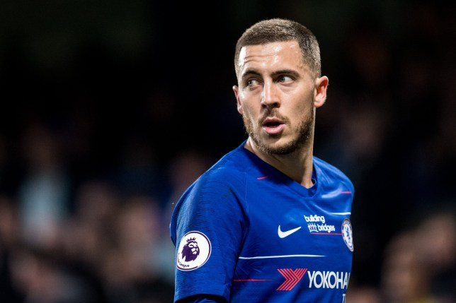 LONDON, ENGLAND - APRIL 08: Eden Hazard of Chelsea FC looks on during the Premier League match between Chelsea FC and West Ham United at Stamford Bridge on April 8, 2019 in London, United Kingdom. (Photo by Sebastian Frej/MB Media/Getty Images)