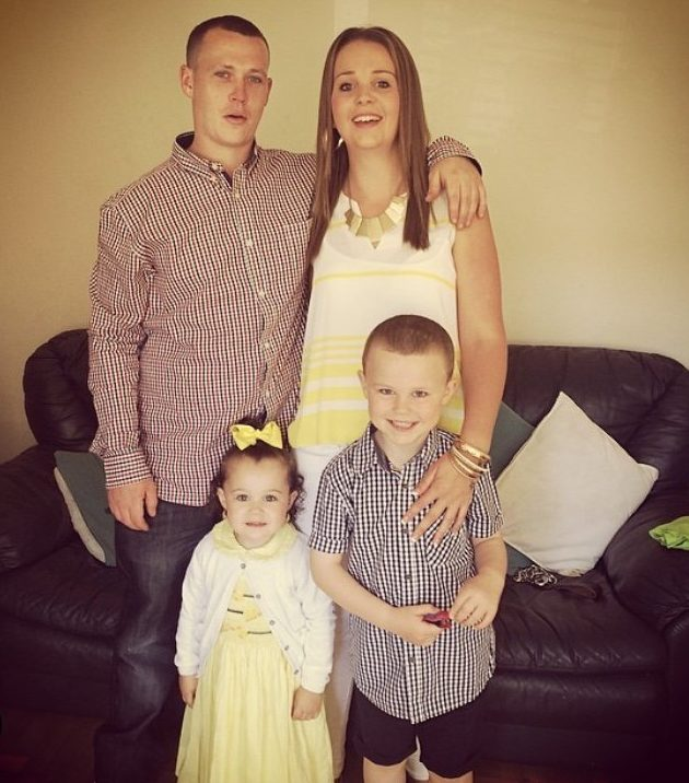 Tommy with partner of 12 years Jade and their children Brooke, seven and Harley 11 (Picture: The McEniry family)