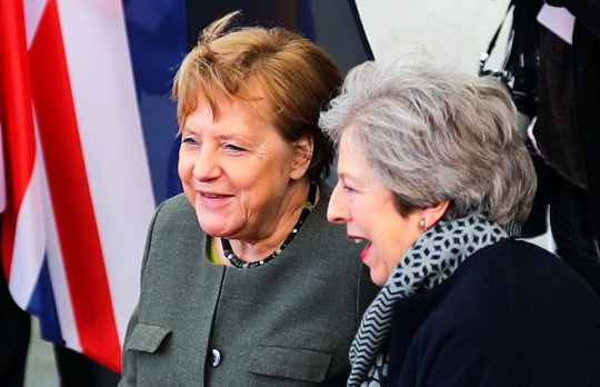 British Prime Minister Theresa May is welcomed by German Chancellor Angela Merkel, as they meet to discuss Brexit, at the chancellery in Berlin, Germany, April 9, 2019. REUTERS/Hannibal Hanschke