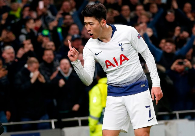 Tottenham Hotspur's South Korean striker Son Heung-Min celebrates scoring the opening goal during the UEFA Champions League quarter-final first leg football match between Tottenham Hotspur and Manchester City at the Tottenham Hotspur Stadium in north London, on April 9, 2019. (Photo by Ian KINGTON / AFP)IAN KINGTON/AFP/Getty Images