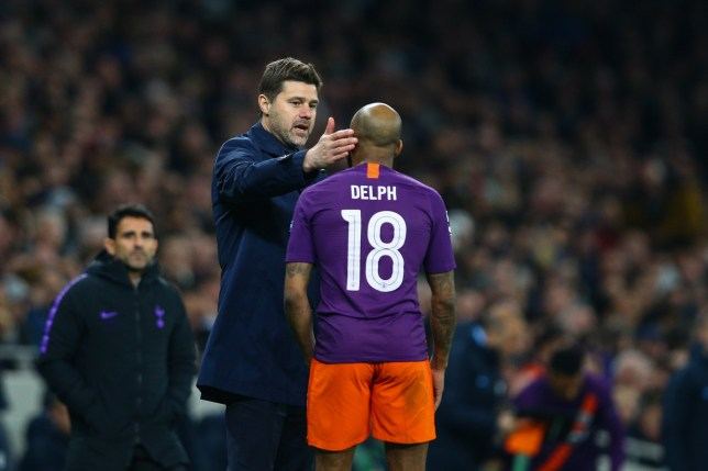 LONDON, ENGLAND - APRIL 09: Tottenham Hotspur manager Mauricio Pochettino has words with Fabian Delph of Manchester City during the UEFA Champions League Quarter Final first leg match between Tottenham Hotspur and Manchester City at Tottenham Hotspur Stadium on April 9, 2019 in London, England. (Photo by Craig Mercer/MB Media/Getty Images)