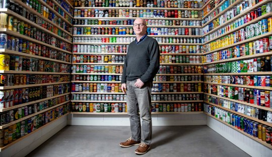 Nick West who amassed over 9,000 beer cans over 40 years but has decided to part with the collection so he can downsize. Portbury, Bristol. A dad who spent more than 40 years collecting Britain???s biggest collection of beer cans has been forced to sell most of them off - so he can buy a smaller house. See SWNS story SWBRbeer. Nick West, who was once voted Britain???s Dullest Man in a newspaper poll, amassed 9,300 cans before making the ???heartfelt??? decision to trim down his ??25,000 collection. The 59-year-old first started collecting when he was 16 - sweeping up empty leftovers at the house party of the schoolgirl who would later become his wife. He has now downsized to 1,500, selling most of the cans and giving the rest to a local museum. Nick, a dad-of-two, started his collection in 1975 after seeing a report on TV about a man who sold beer cans to collectors in the US. His first can was a half pint of Heineken - and the oldest in the collection dates back to 1936. Nick had to build an extension on a previous home to make space for the cans - and later moved into a large five-bedroomed Victorian house so he could have them on display.