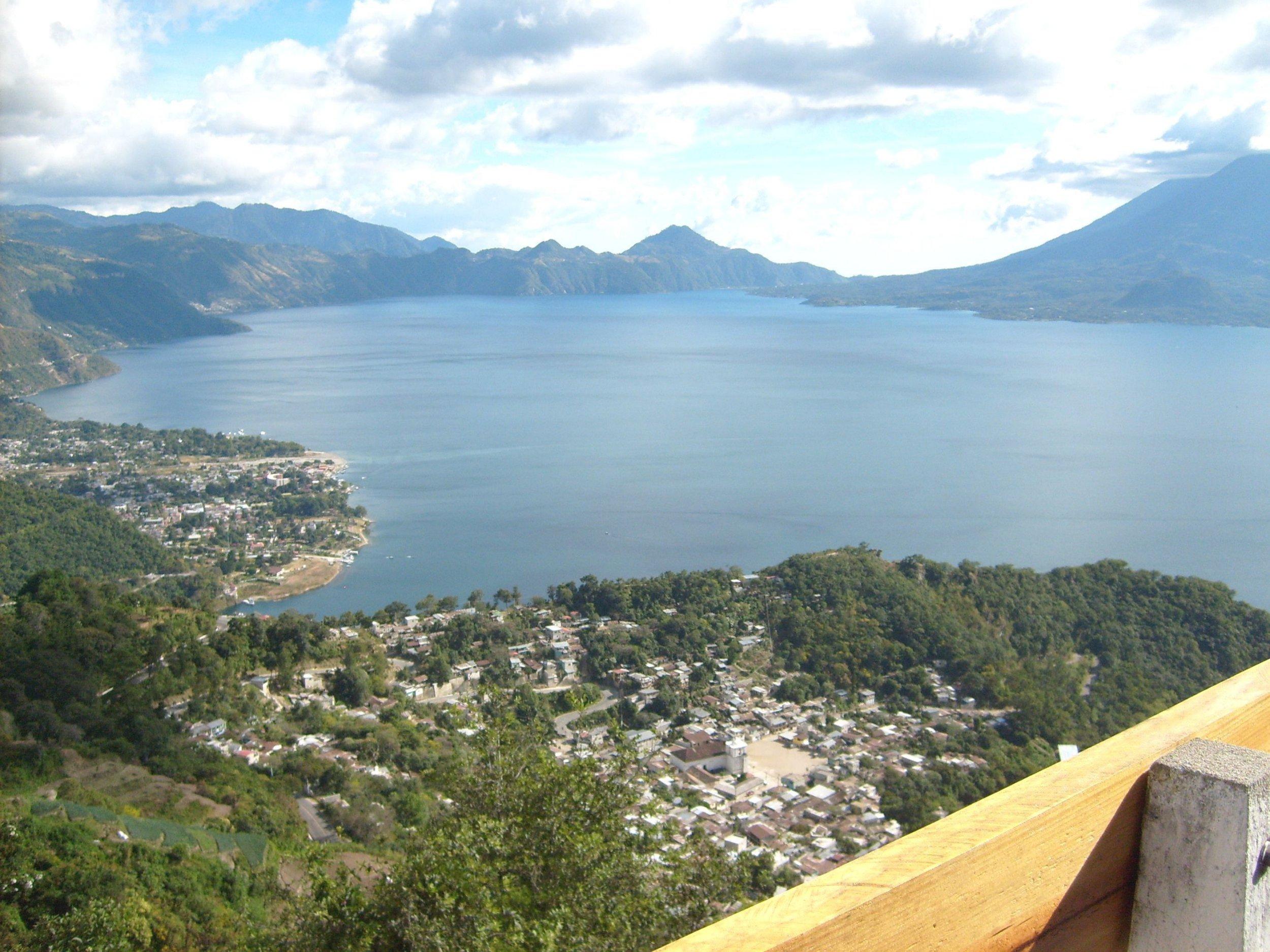 lake Atitlan and town of Panajachel seen from neighboring mountain