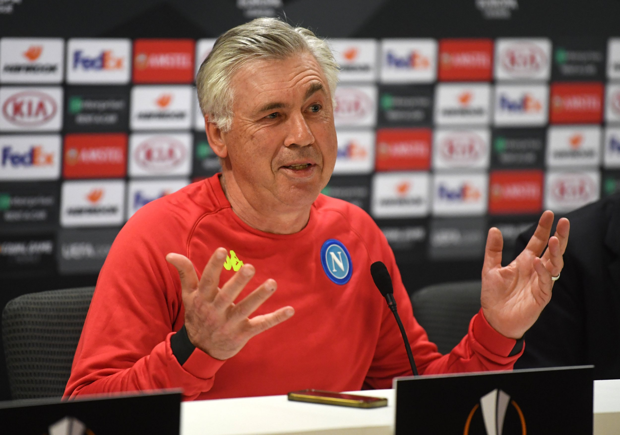epa07497273 Napoli's head coach Carlo Ancelotti attends a media conference in London, Britain, 10 April 2019. SSC Napoli faces Arsenal FC in an UEFA Europa League quarter final first leg soccer match on 11 April 2019. EPA/NEIL HALL