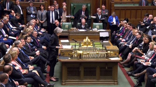 """A video grab from footage broadcast by the UK Parliament's Parliamentary Recording Unit (PRU) shows Britain's Prime Minister Theresa May speaking in the House of Commons in London on April 11, 2019, as she updates MPs on Brexit, following her attendance at the EU Summit. - European leaders agreed with Britain on Thursday to delay Brexit by up to six months, saving the continent from what could have been a chaotic no-deal departure at the end of the week. The deal struck during late night talks in Brussels means that, if London remains in the EU after May 22, British voters will have to take part in European elections -- or crash out on June 1. (Photo by HO / various sources / AFP) / RESTRICTED TO EDITORIAL USE - MANDATORY CREDIT """" AFP PHOTO / PRU """" - NO USE FOR ENTERTAINMENT, SATIRICAL, MARKETING OR ADVERTISING CAMPAIGNSHO/AFP/Getty Images"""