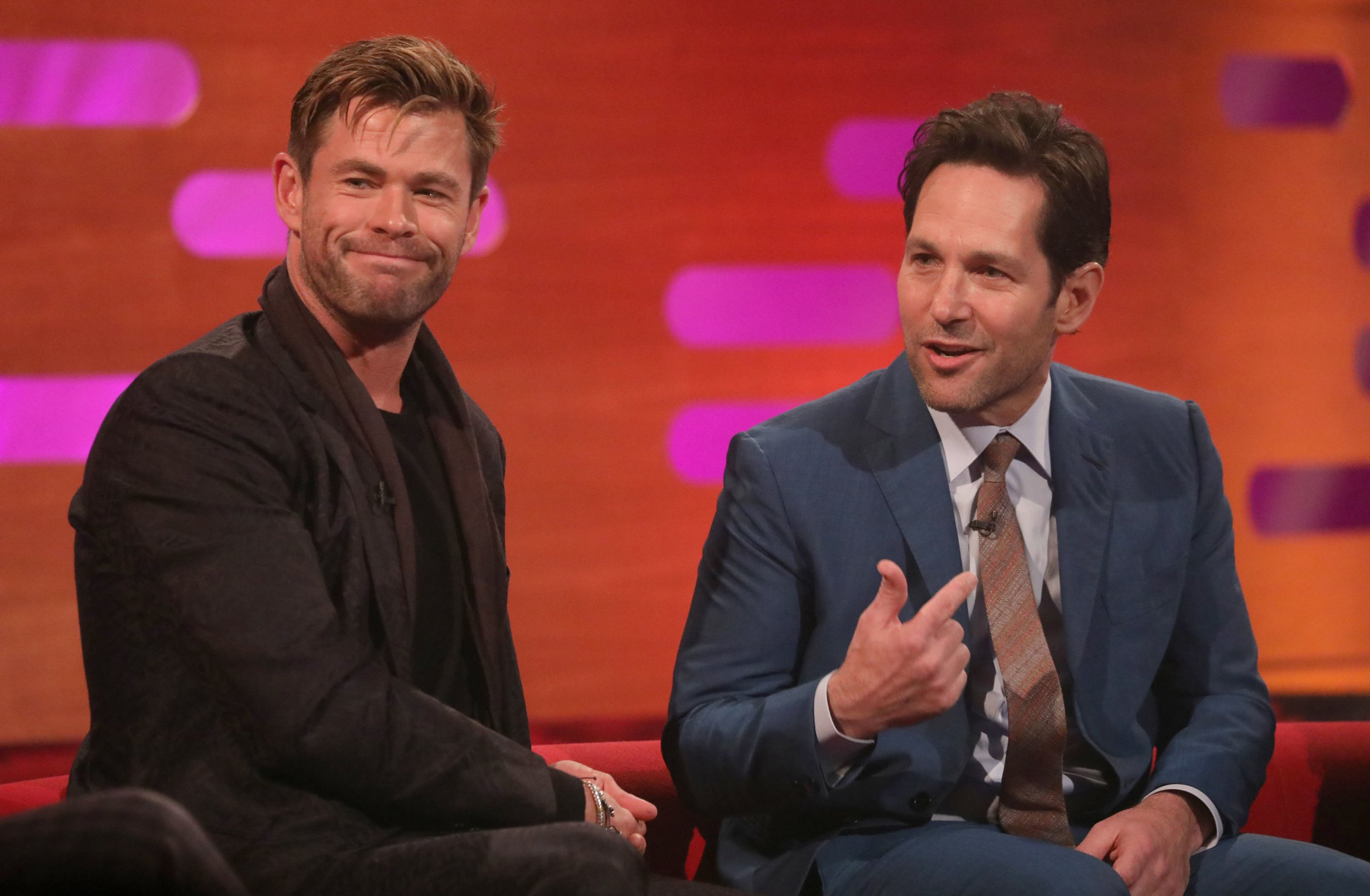 Chris Hemsworth (left) and Paul Rudd during the filming for the Graham Norton Show at BBC Studioworks 6 Television Centre, Wood Lane, London, to be aired on BBC One on Friday evening. PRESS ASSOCIATION Photo. Picture date: Thursday April 11, 2019. Photo credit should read: PA Images on behalf of So TV