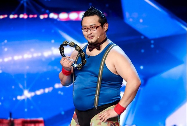 STRICT EMBARGO - NO USE BEFORE 00:01 SATURDAY 13 APRIL 2019 - Editorial use only. No book publishing. Mandatory Credit: Photo by Dymond/Thames/Syco/REX (10201923b) Gonzo, aged 33, an extreme tambourinist from Japan. 'Britain's Got Talent' TV Show, Series 13, Episode 2, UK - 13 Apr 2019