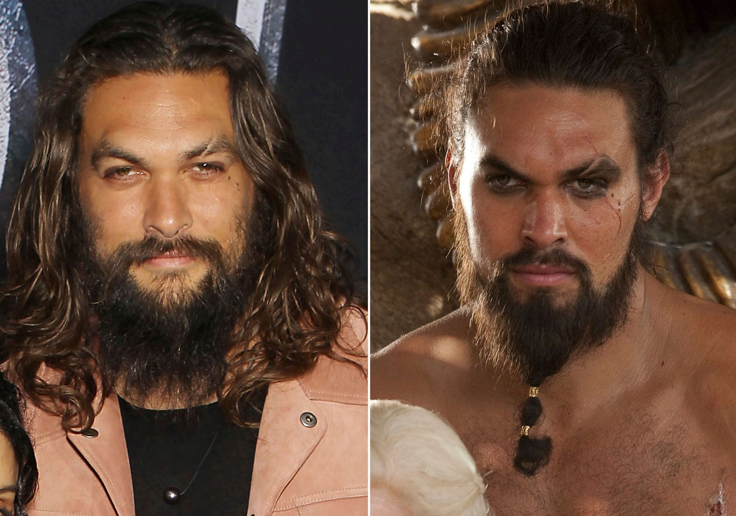 "This combination photo shows Jason Momoa at HBO's ""Game of Thrones"" final season premiere in New York on April 3, 2019, left, and his character Khal Drogo. (Photos by Evan Agostini/Invision/AP, left, and HBO)"