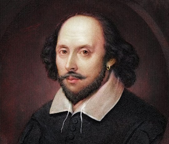 Vintage coloured engraving of William Shakespeare, after the Chandos portrait.