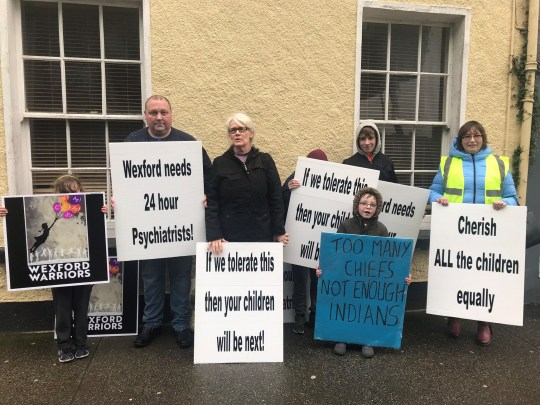 """Undated handout photo issued by Aoife Moore of parents calling for CAMHS beds in the county of Wexford, Ireland. Children with severe mental health problems are being admitted to adult psychiatric wards, due to a lack of age-appropriate facilities. PRESS ASSOCIATION Photo. Issue date: Sunday April 14, 2019. Concerned parents in Co. Wexford say they are currently in a """"living hell"""", with one doctor resigning in protest, as the county's Child and Adolescent Mental Health Services (CAMHS) continue to deplete. See PA story HEALTH Wexford Ireland. Photo credit should read: Ray Shannon/PA Wire NOTE TO EDITORS: This handout photo may only be used in for editorial reporting purposes for the contemporaneous illustration of events, things or the people in the image or facts mentioned in the caption. Reuse of the picture may require further permission from the copyright holder."""