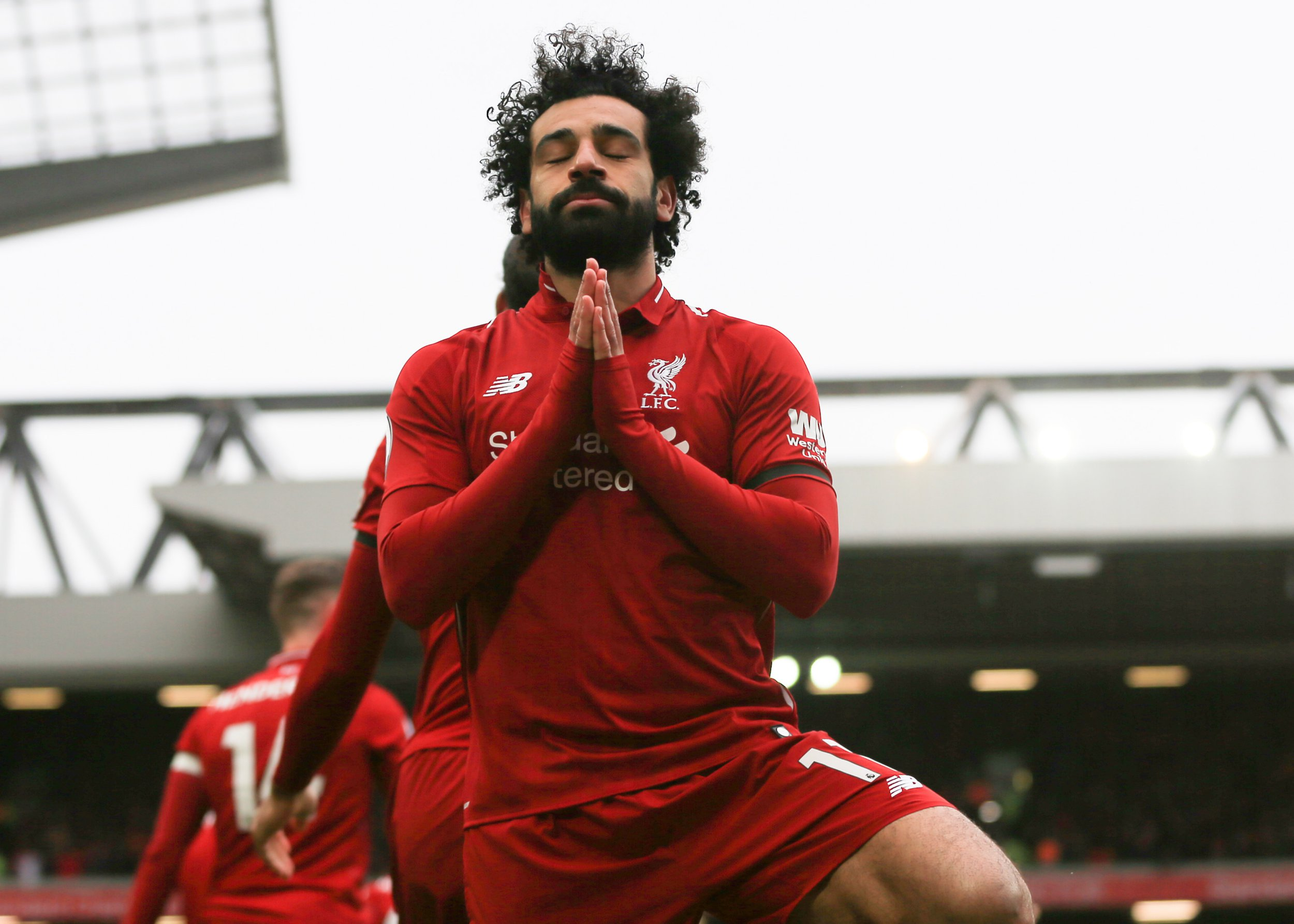 14th April 2019, Anfield, Liverpool, England; EPL Premier League football, Liverpool versus Chelsea; Mohamed Salah of Liverpool celebrates scoring his team's second goal in minute 53 (photo by David Blunsden/Action Plus via Getty Images)