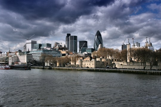 London skyline - capital city of the UK with stormy skies.