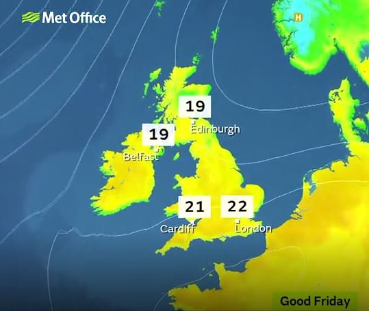 Weather: sunny Easter Picture: Met Office