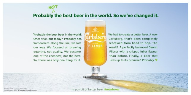 Carlsberg admits it's probably not the best beer in the world Calsberg Press Kit from https://carlsberguk.co.uk/newsroom/from-cheapest-to-best-carlsberg-uk-gets-honest-about-its-beer/