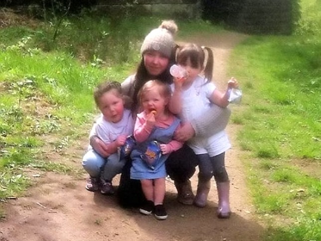 Mum Shannon Lathamwith is left to right- Emelia, Cleo and Ellie-Mae.