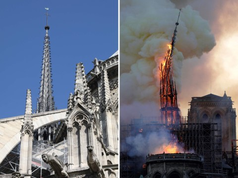 When was the Notre Dame spire built as it collapses during cathedral fire?